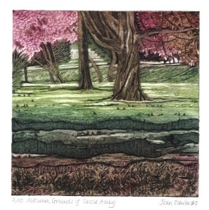 Autumn, Grounds of Castle Ashby, coloured collagraoh. Made for the 15 x 15 exhibition at The University of Northampton, 2008
