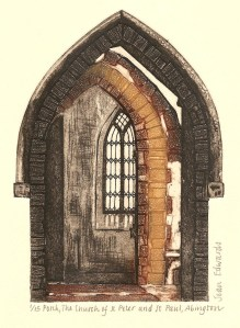 Porch, the Church of St Peter and St Paul, Abington Park, coloured collagraph, 2009